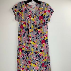 Boden Womens Floral Short Sleeve Lined Dress Gray